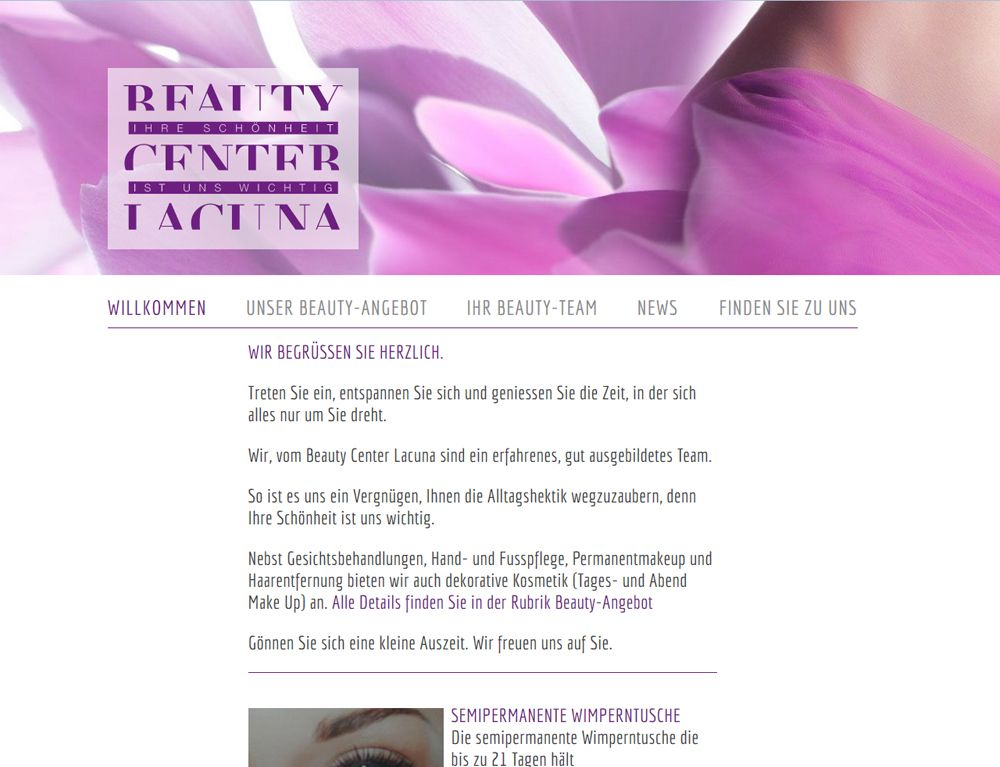 Beautycenter Lacuna, Chur, beba it. web. grafik. Landquart